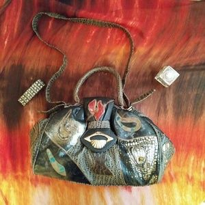 Faux Leather Shoulder Bag Reptile Leopard Vintage